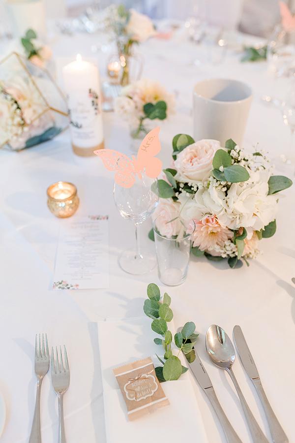 Tischdekoration für Hochzeit auf Schloss Halbturn