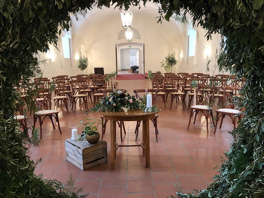 Dekoration für Hochzeit auf Schloss Halbturn