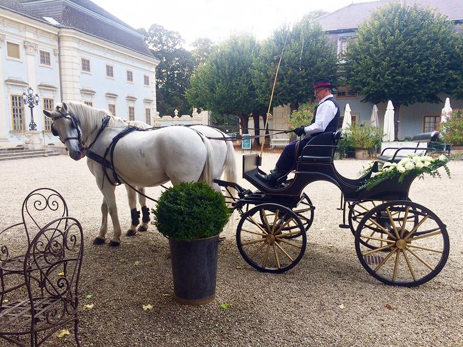 Hochzeitskutsche im Ehrenhof auf Schloss Halbturn