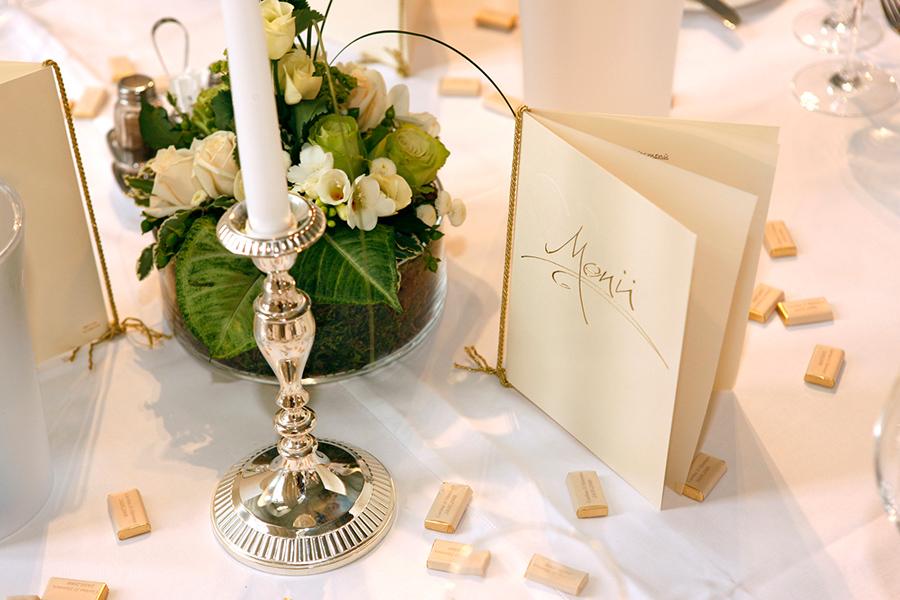 Tischdekoration für Hochzeit im Freskensaal