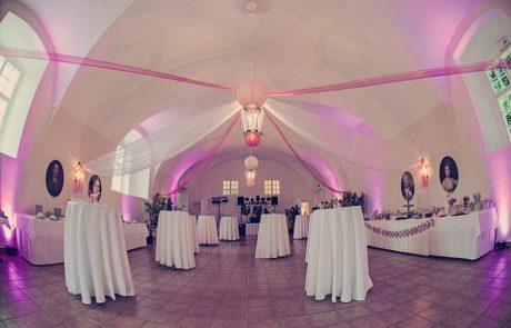 Hochzeit Stehpulte mit Deko in Pink im Saal Neapolitano auf Schloss Halbturn